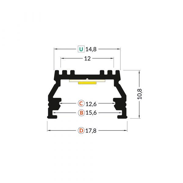 UNI12 Surface-Recessed Profile Dimension