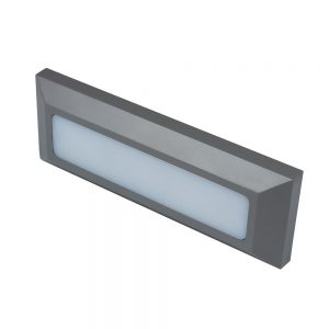 Robus TWILIGHT 3W LED rectangular wall light, IP65, Grey, 3000K