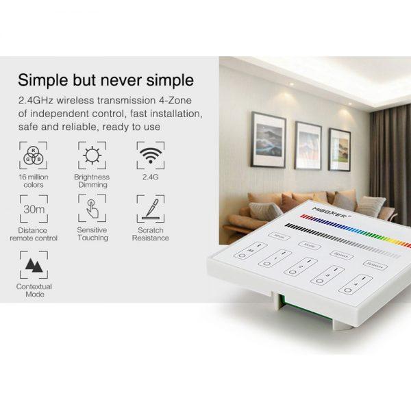 Mi-Light 4-Zone Mains RGB/RGBW Smart Wall Panel