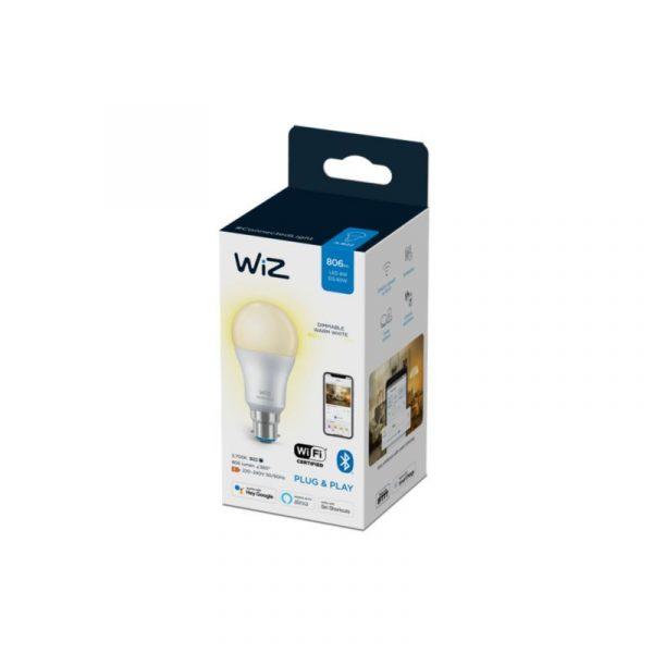 WiZ-Whites-GLS-Smart-Bulb-B22,-Warm-White-Pakaging_