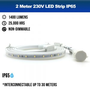 2 Meters 230V LED Strip IP65 Outdoor - 4000K Neutral White