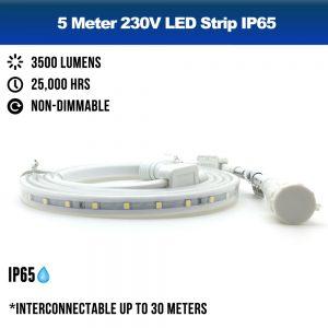 5 Meters 230V LED Strip IP65 Outdoor - 3000K Warm White