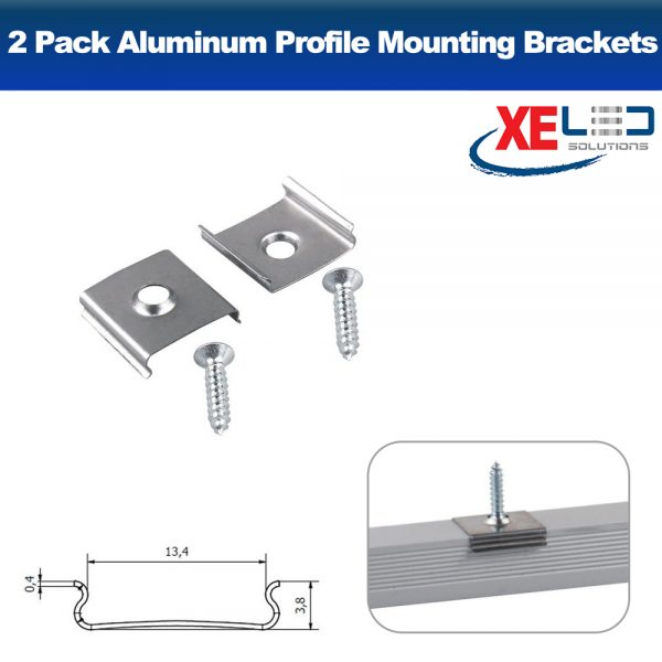 2 Pack Aluminum Profile Clips / Mounting Brackets with screws