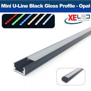 Black Mini U-Line Aluminium Profile with Opal Diffuser 2 Metres