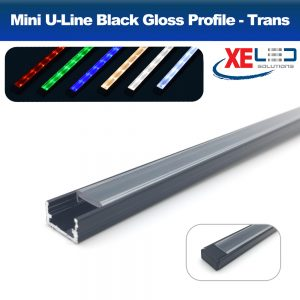 Black Mini U-Line Aluminium Profile with Transparent Diffuser 2 Meters
