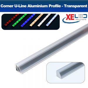 Corner U-Line Aluminium Profile with Transparent Diffuser 2 Meters