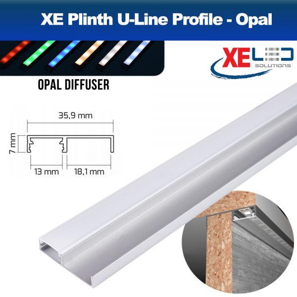 Plinth U-Line Aluminium Profile, Opal Diffuser, 2 Meters