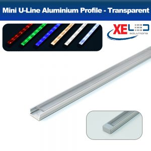 Mini U-Line Aluminium Profile with Transparent Diffuser 2 Meters