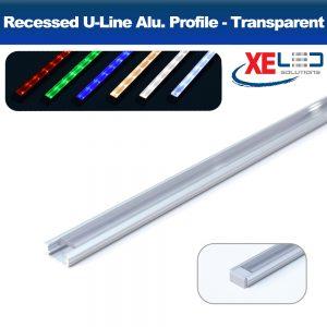 Recessed Mini U-Line Aluminium Profile with Transparent Diffuser 2 Meters