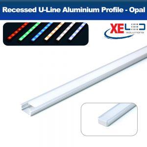 Recessed Mini U-Line Aluminium Profile with Opal Diffuser 2 Metres