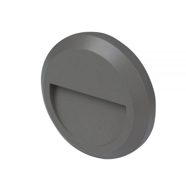 Robus TWILIGHT 2W LED circular wall light, IP65, Grey, 3000K