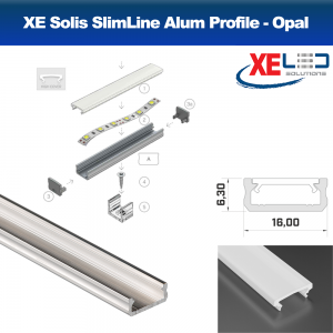 Solis SlimLine Aluminium LED Profile / Extrusion with Opal Diffuser (2 Mtrs.)