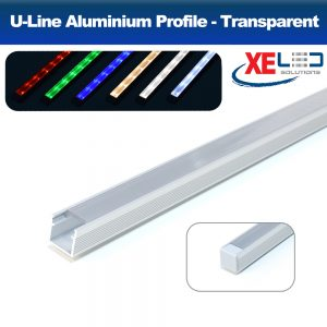 U-Line Aluminium Profile with Transparent Diffuser 2 Meters