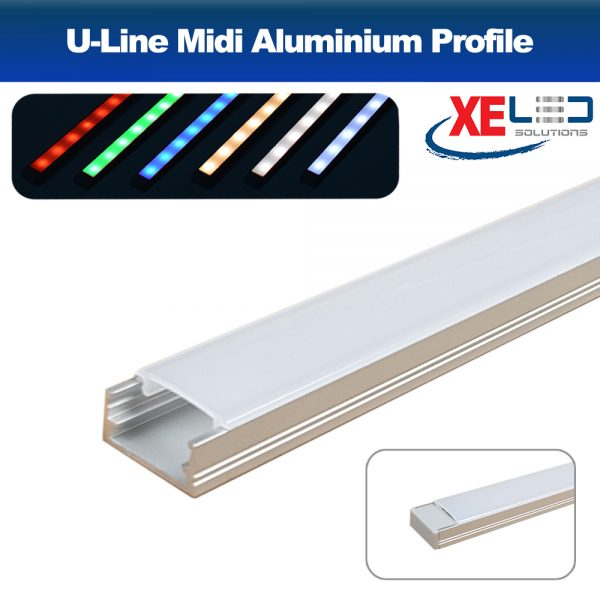 U-Line Midi Aluminium Profile with Opal Diffuser 2 Metres