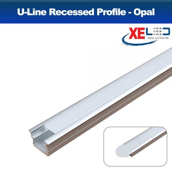 Recessed U-Line Aluminium Profile with Opal Diffuser 2 Metres