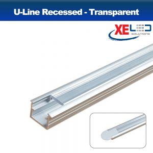 Recessed U-Line Aluminium Profile with Transparent Diffuser 2 Meters