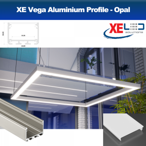 Vega Suspension Aluminium LED Profile with Opal Diffuser (2 Mtrs)