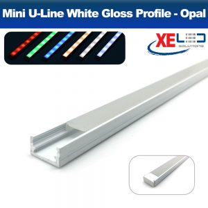 White Mini U-Line Aluminium Profile with Opal Diffuser 2 Meters