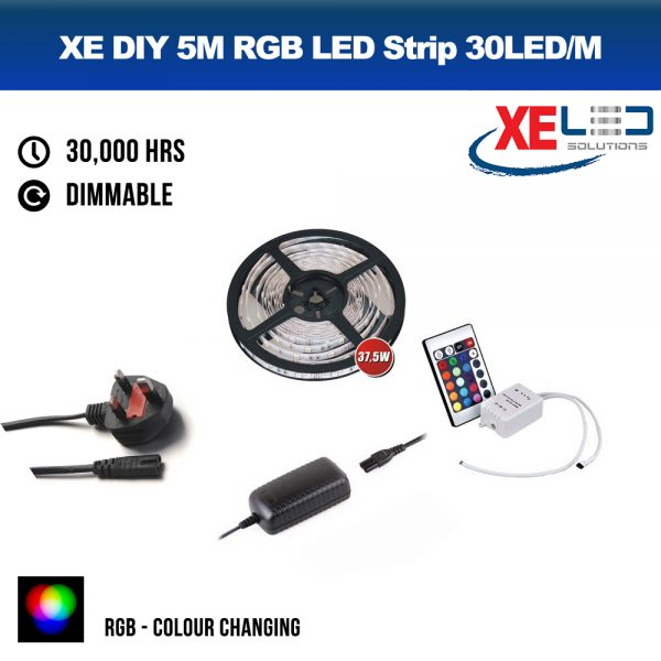 5M RGB Colour Change LED Strip DIY Value Kit